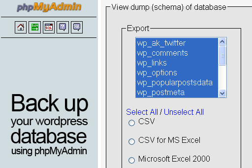 Back up your wordpress database using phpMyAdmin