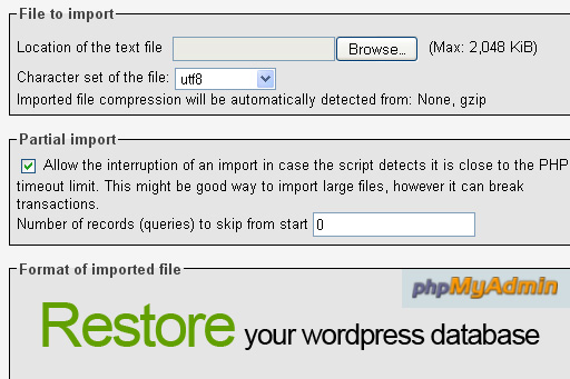 Restore your wordpress database from backup using phpMyAdmin