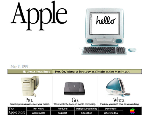 wayback machine apple 1998