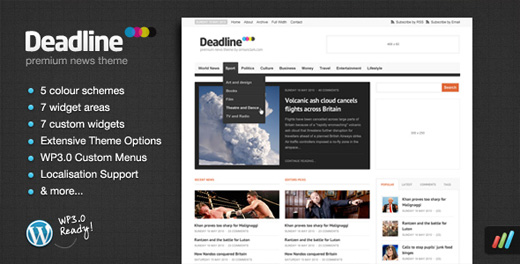 deadline magazine style wordpress theme