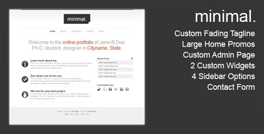 minimal minimalist wordpress theme