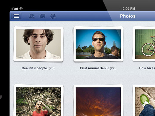 facebook ipad app interface photos