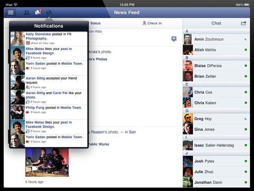 facebook ipad app interface